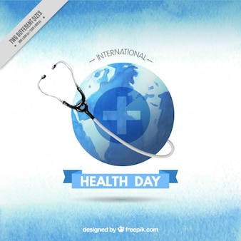 Watercolor phonendoscope with Earth Health Day background