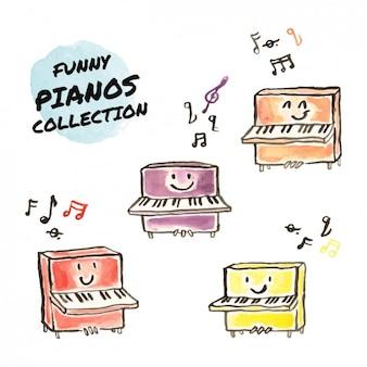 Watercolor pianos collection