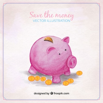 Watercolor piggy bank background