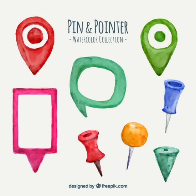 Watercolor pin and pointer collection