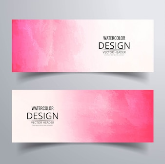 Watercolor pink banners