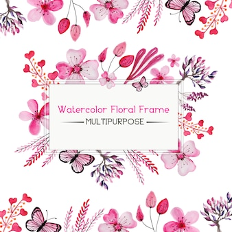 Watercolor Pink Floral Frame