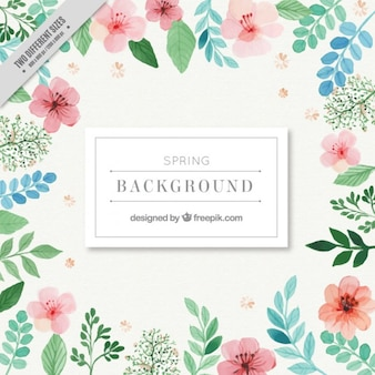 Watercolor pink flowers with green leaves background