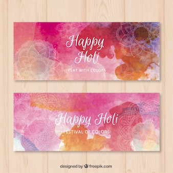 Watercolor pink Happy Holi Festival banners
