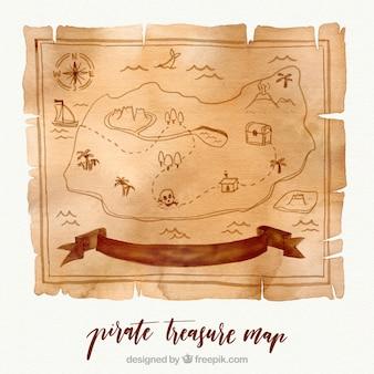 Watercolor pirate treasure map