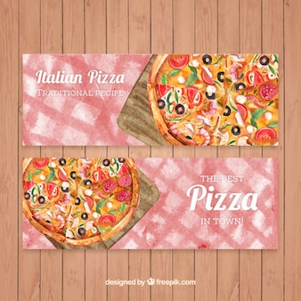 Watercolor pizzas banners