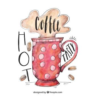 Watercolor polka dot coffee cup background