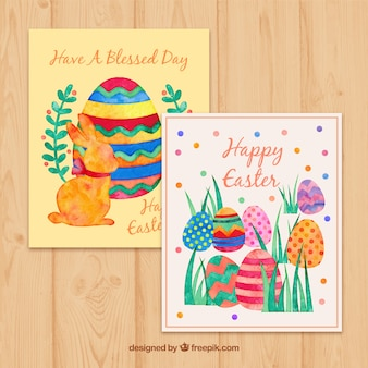 Watercolor pretty easter cards