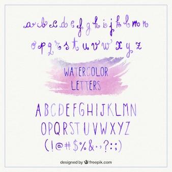 Акварельные фиолетовые буквы