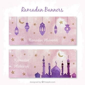 Watercolor purple ramadan banners