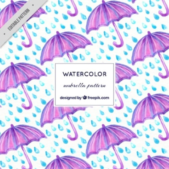 Watercolor purple umbrella and rain pattern