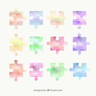 Watercolor puzzle pieces
