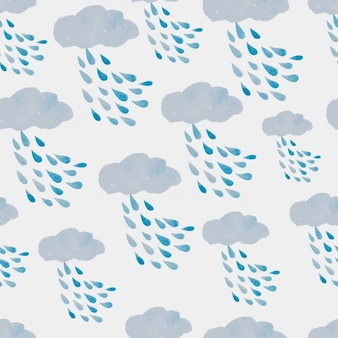 Watercolor rainy clouds pattern