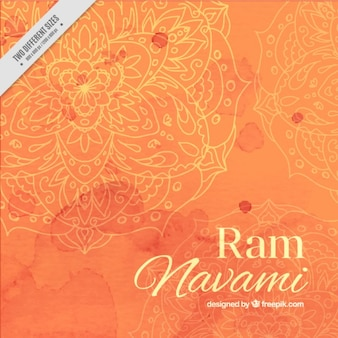 Watercolor ram navami background in orange tones