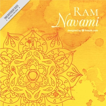 Watercolor ram navami background in yellow tones,