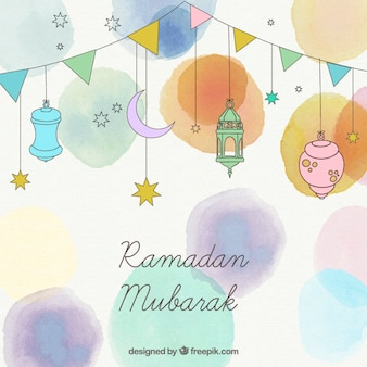 Watercolor ramadan background