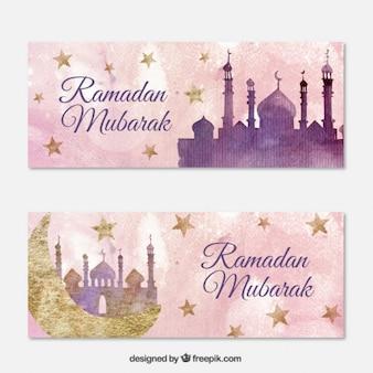 Watercolor ramadan banners