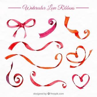 Watercolor red ribbons