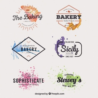 Watercolor restaurant badges