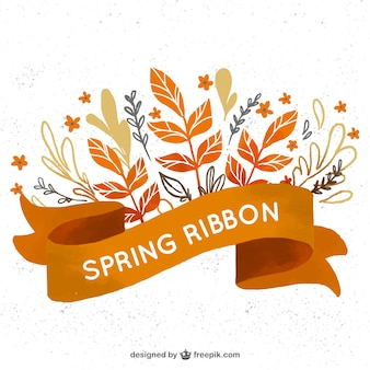 Watercolor ribbon with floral spring decoration