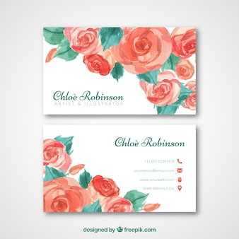 Watercolor roses business card