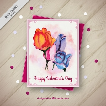 Watercolor roses card for valentine