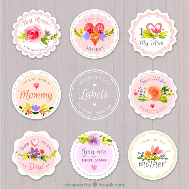 Watercolor rounded mother's day labels
