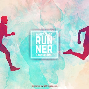 Watercolor runner background