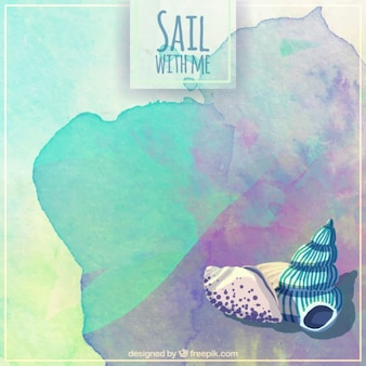 Watercolor sail background with shells