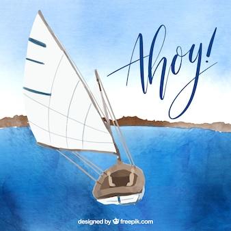 Watercolor sailing boat with ahoy slogan
