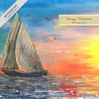 Watercolor sailing landscape background