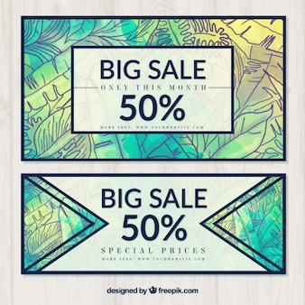 Watercolor sale banners with hand drawn plants
