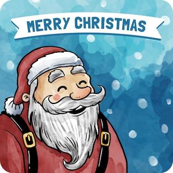 Watercolor santa claus card