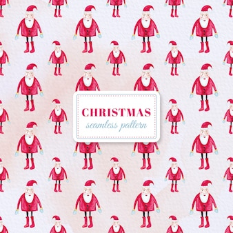 Watercolor Santa Claus pattern