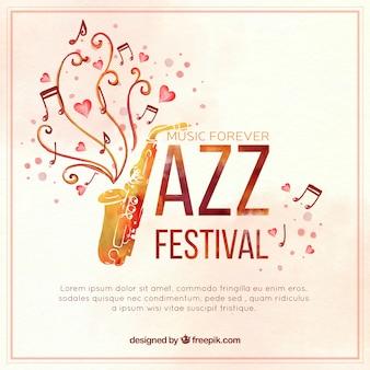 Watercolor saxophone jazz background