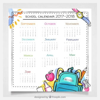 Watercolor school calendar with fun style