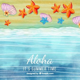 Watercolor seashore background