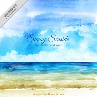 Watercolor seaside background