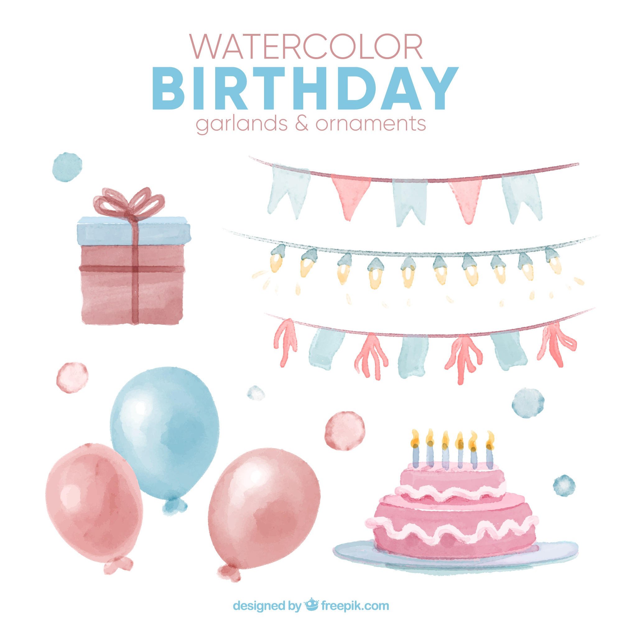 Watercolor set of birthday garlands and ornaments