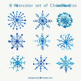 Watercolor set of christmas snowflakes