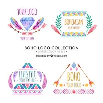 Watercolor set of great boho logos