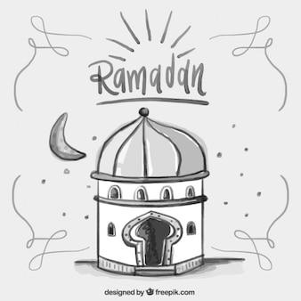 Watercolor simple ramadan card