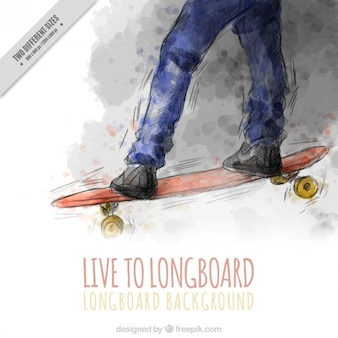 Watercolor skateboard background with a quote
