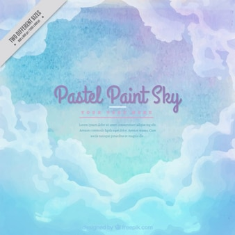 Watercolor sky background with clouds in pastel colors