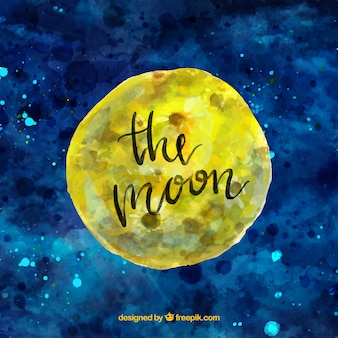 Watercolor sky background with moon
