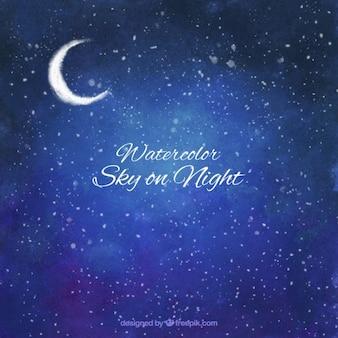 Акварели небо на ночном фоне
