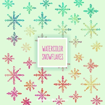 Watercolor snowflakes in colorful style