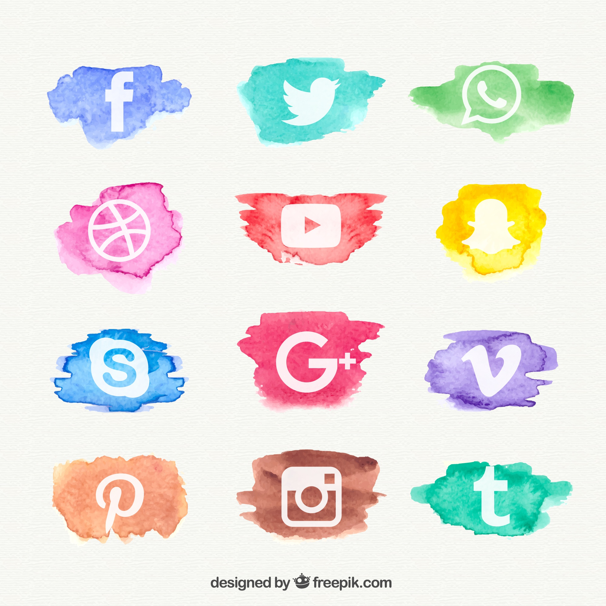 Watercolor social network icon collection