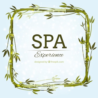 Watercolor spa background with bamboo frame
