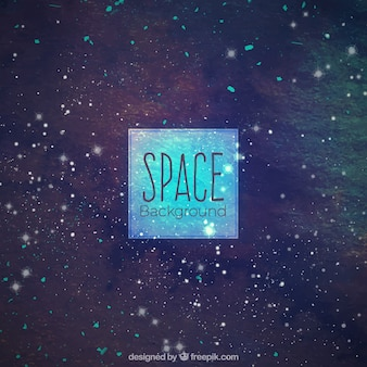 Watercolor space background with stars